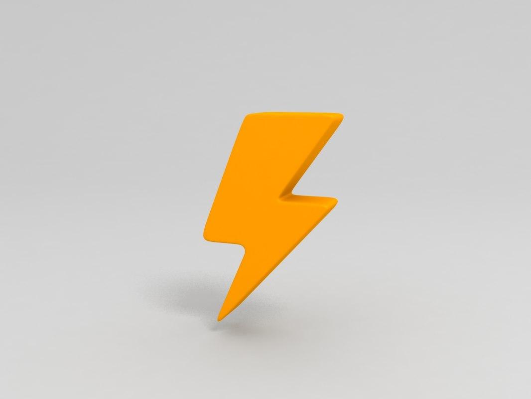 3D thunder symbol