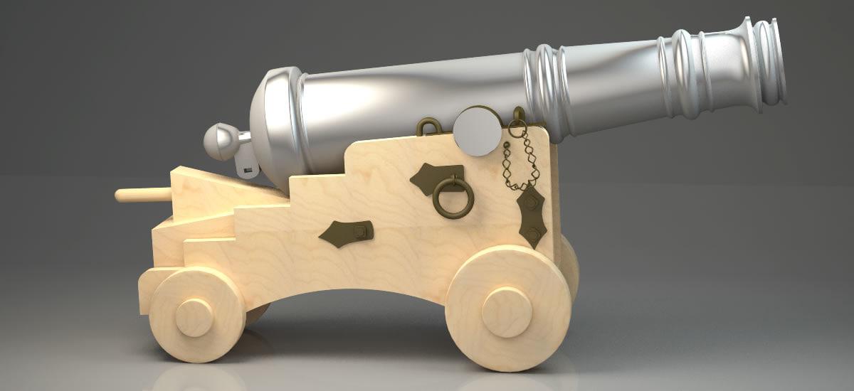naval cannon ball antique 3D model