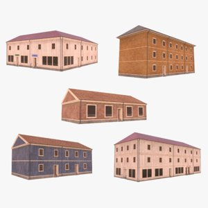 3D scandinavian buildings 1 model