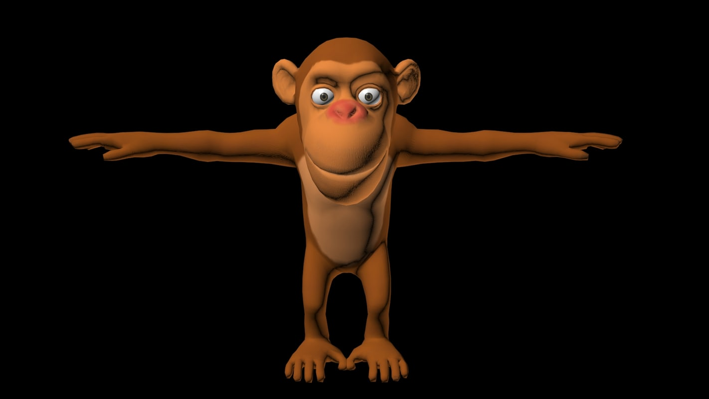 rigged cartoon monkey 3D