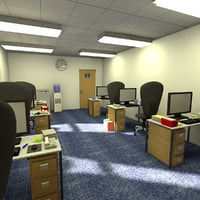 3D cartoon office interior