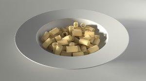 pasta plate rigatoni 3D model