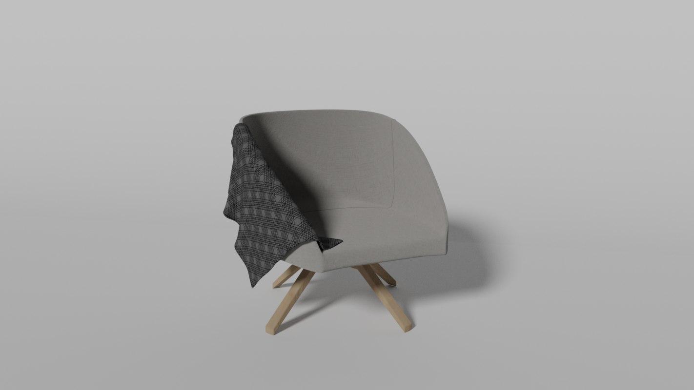 3D single chair blanket