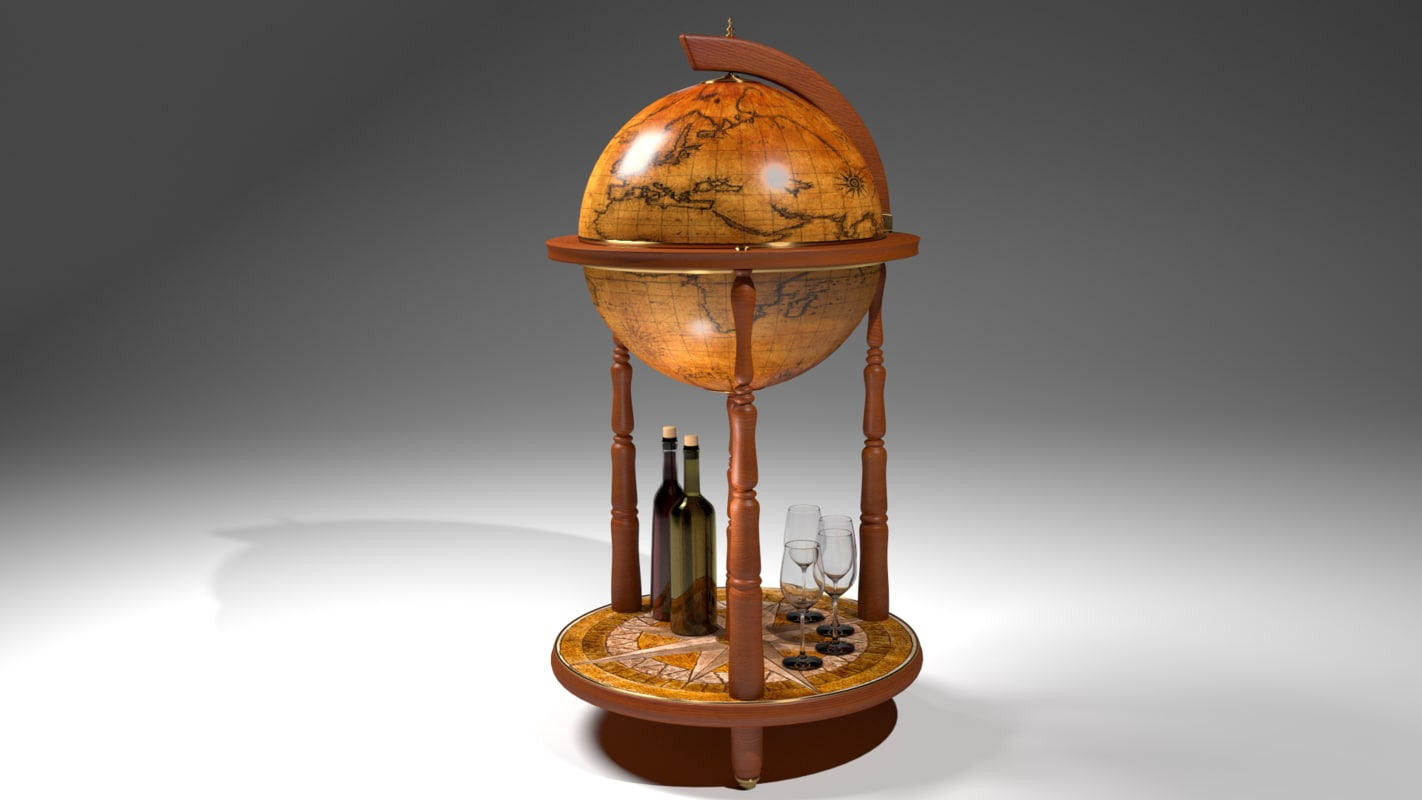 retro globe bar 3D