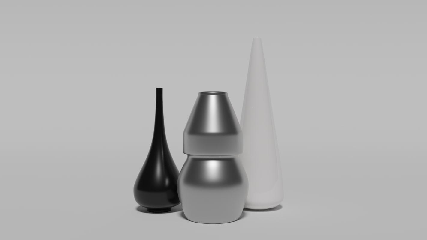 3D model decorative vase 3 set