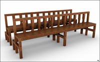 church bench model