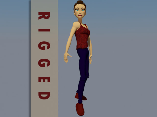 female cartoon character rigged 3D
