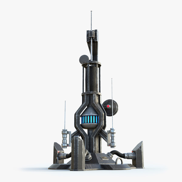 3D science fiction antenna tower model