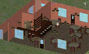 pub building interior exterior 3D model