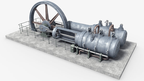 3D old steam engine