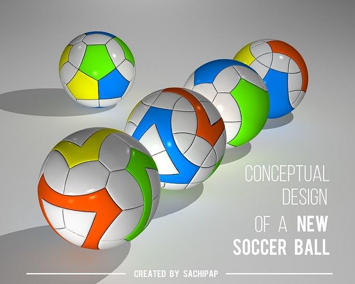 3D model conceptual design new soccer ball