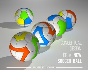 3D model conceptual design new soccer ball