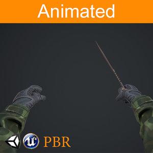 3D model arms knife