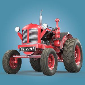 3D vintage tractor david brown model