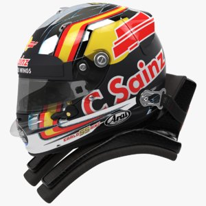 racing helmet carlos sainz 3D model