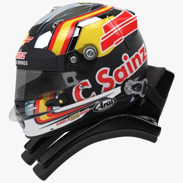 racing helmet carlos sainz 3D model
