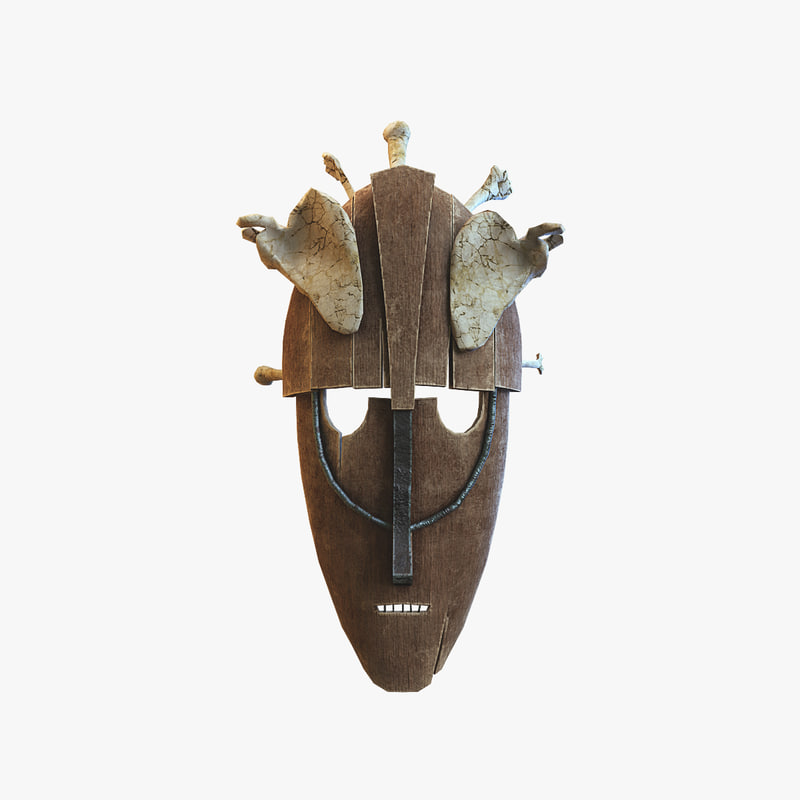 3D wood mask bones