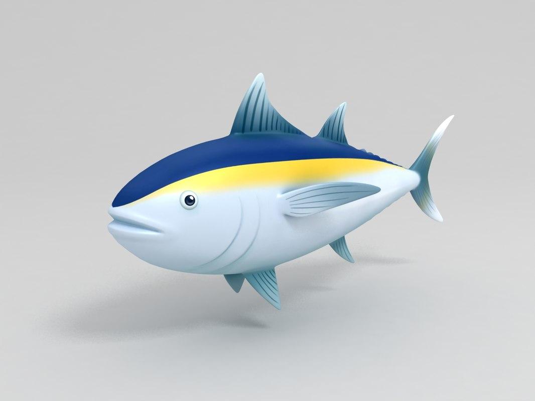 tuna cartoon 3D model