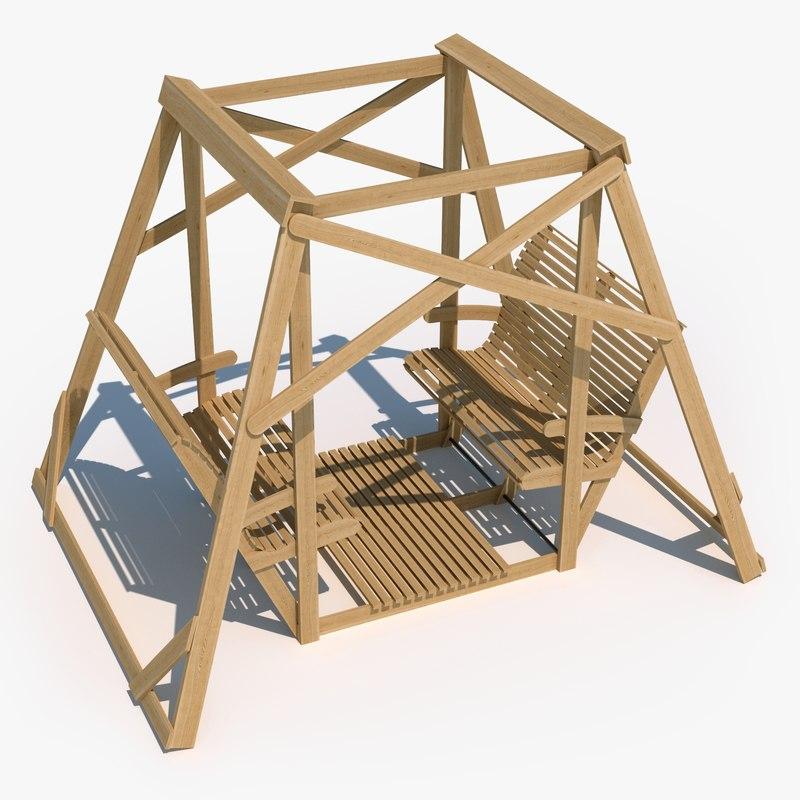 wooden small finnish garden 3D model