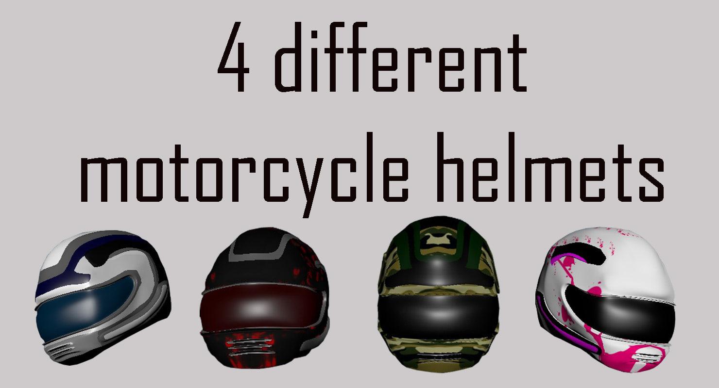 motorcycle helmets 3D model