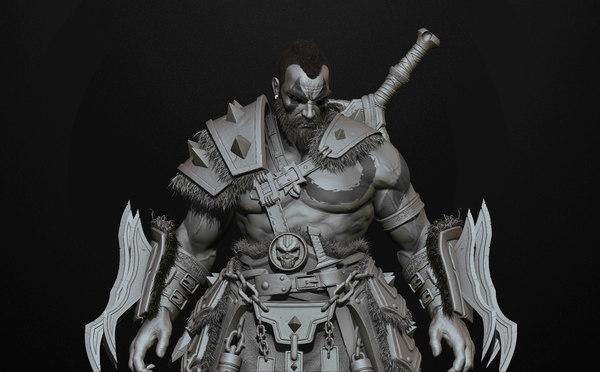 3D barbarian highpoly sculpt zbrush model