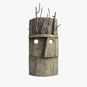 mask wood 3D model