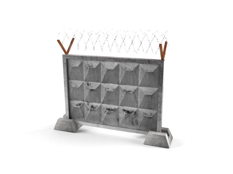 fence concrete wall model
