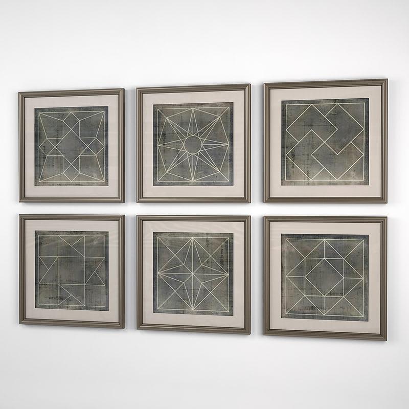 3D eichholtz prints geometric blueprints model