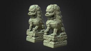 8k guardian lions foo 3D model