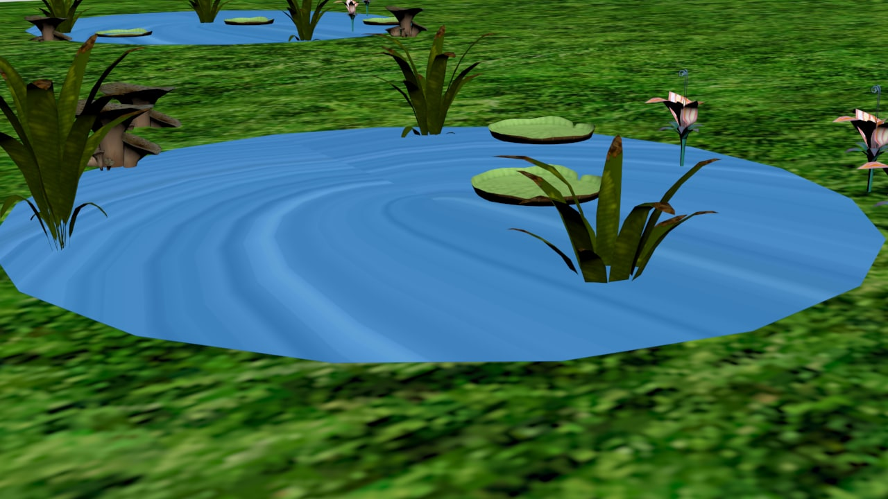 3D swamp mushrooms water model