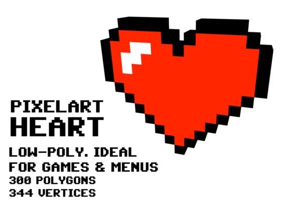 3D pixelart heart
