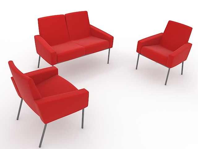 3D model red chairs
