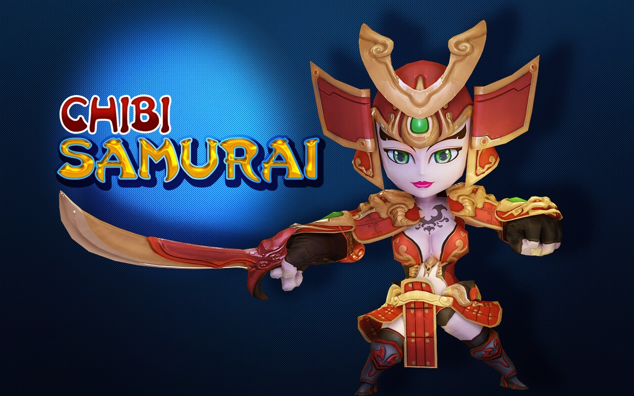 3D chibi samurai model