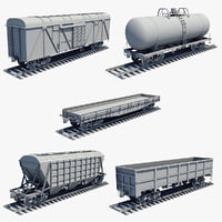 Cargo Wagons Set Untextured