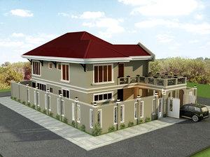 3D nice tropical house autocad model