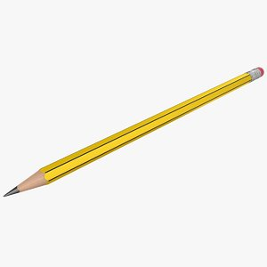 realistic yellow black pencil 3D