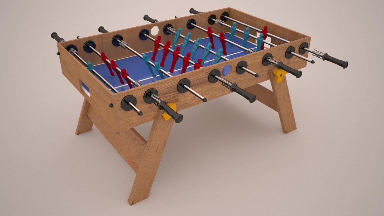 3D model simple foosball table