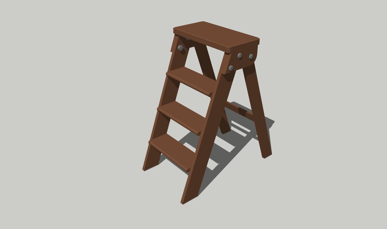3D escalera plegable tijera model
