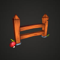 Wooden fence low-poly