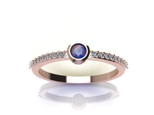 3D bazel ring diamond model