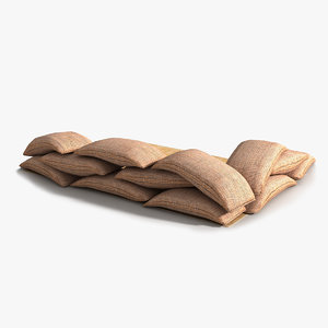 3D sandbag barrier faces model