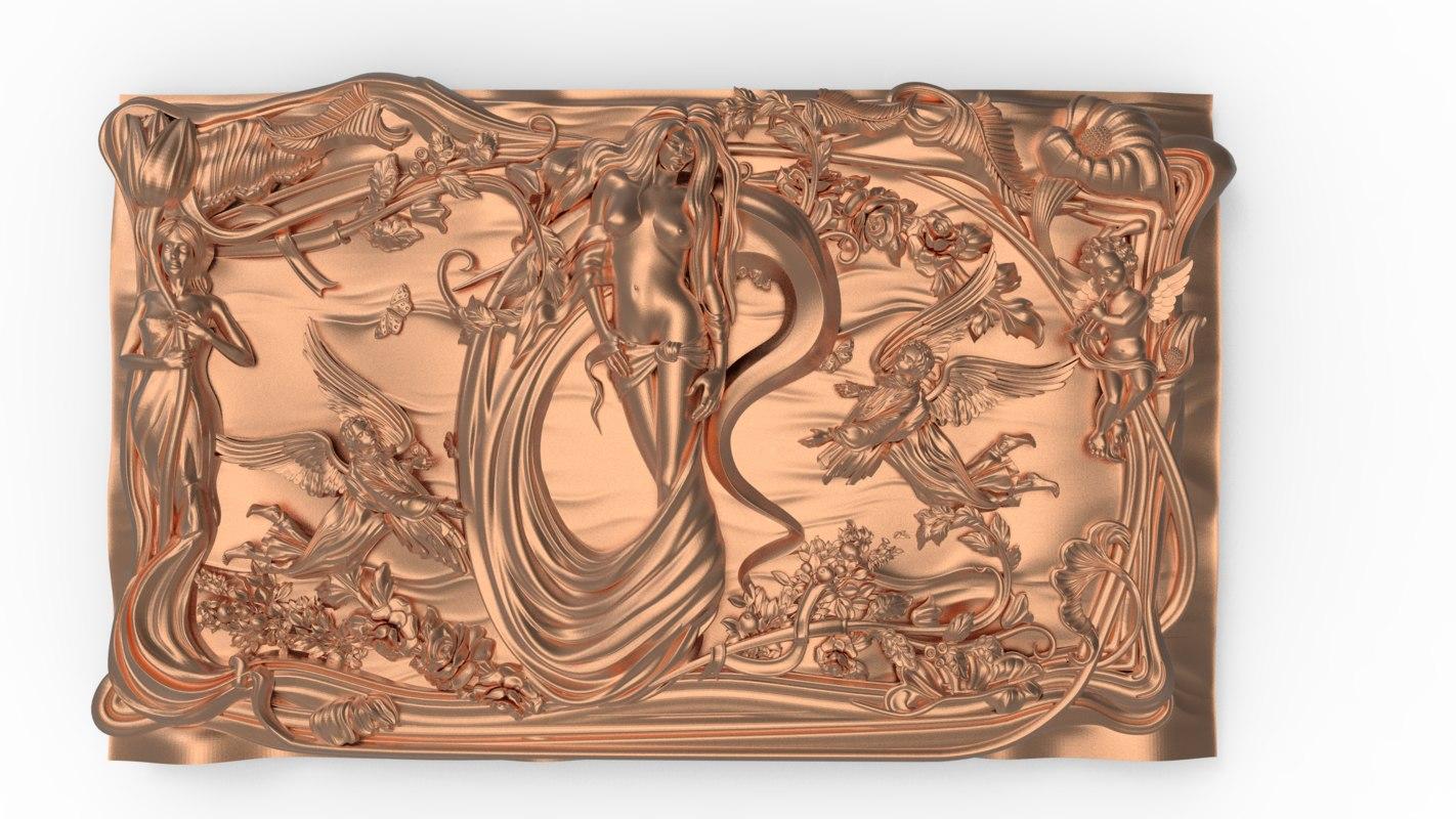 3D bas relief nude girl