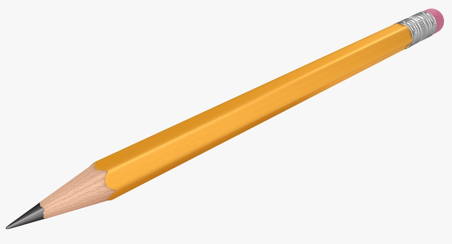 realistic pencil medium size 3D model
