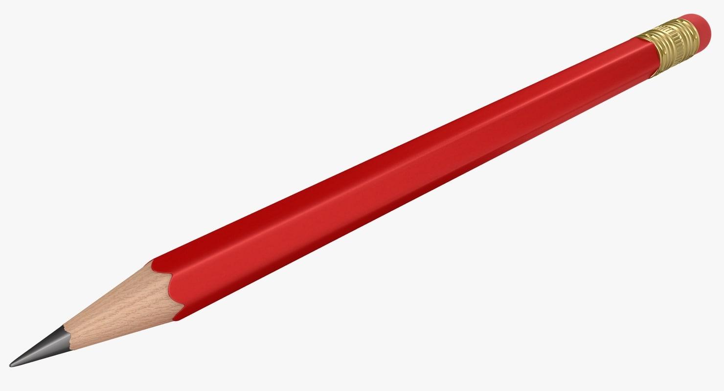 3D realistic red pencil medium model