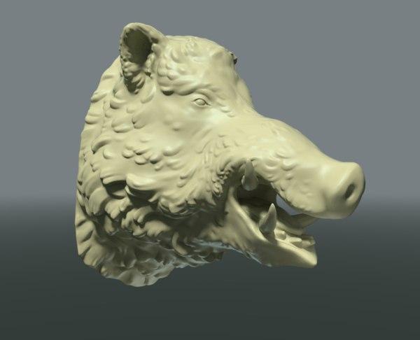 3D model boars head