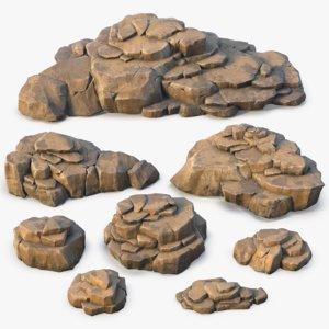 realistic set rock formations 3D