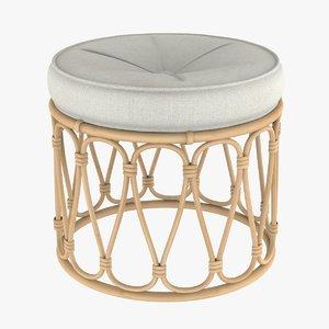 3D bamboo pouf