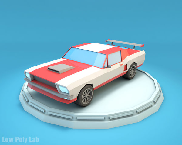 mustang racing car cartoon 3D model