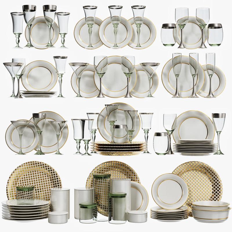 glasses plates kitchen 3D model