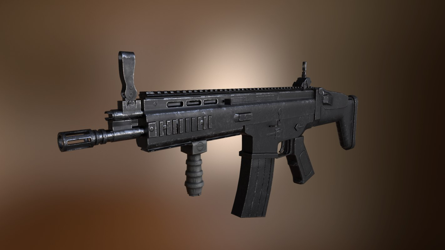 scar h assault rifle 3D model